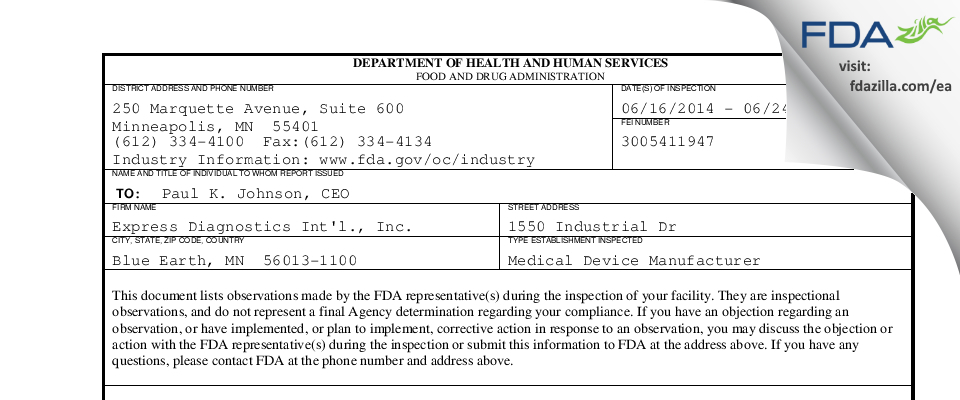 Express Diagnostics Int'l. FDA inspection 483 Jun 2014