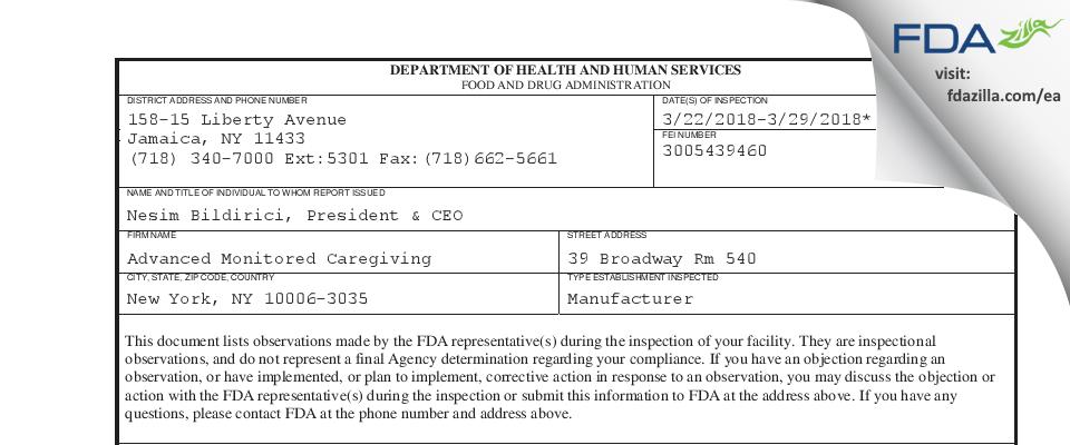 Advanced Monitored Caregiving FDA inspection 483 Mar 2018