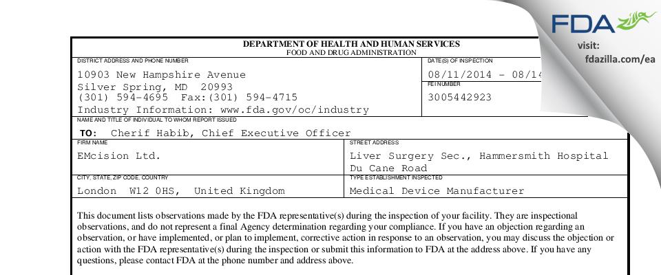 EMcision FDA inspection 483 Aug 2014