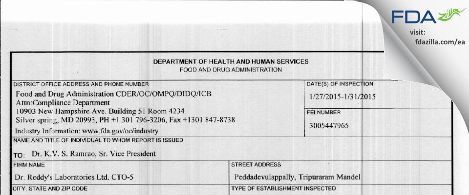 Dr. Reddy's Labs FDA inspection 483 Jan 2015