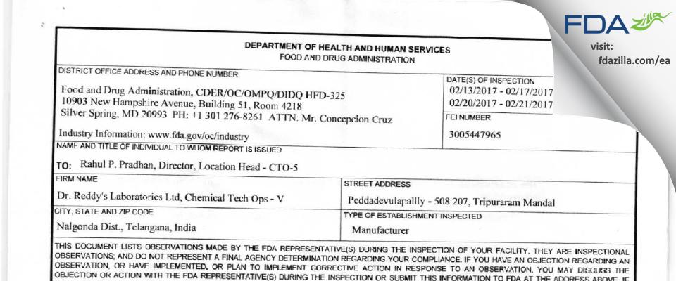 Dr. Reddy's Labs FDA inspection 483 Feb 2017
