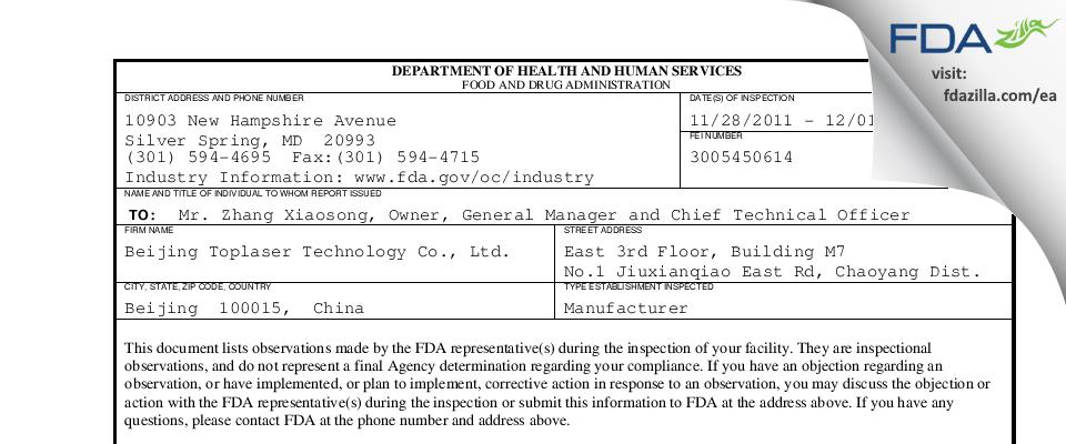 Beijing Toplaser Technology FDA inspection 483 Dec 2011