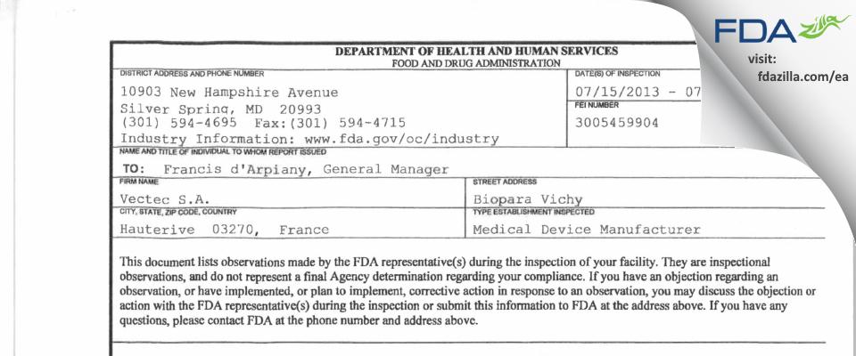 Vectec FDA inspection 483 Jul 2013
