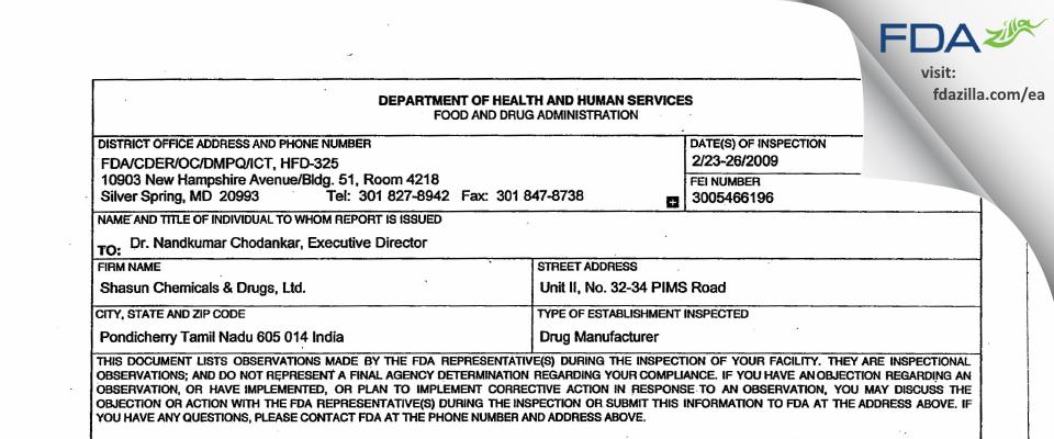 Shasun Pharmaceuticals Limited. FDA inspection 483 Feb 2009