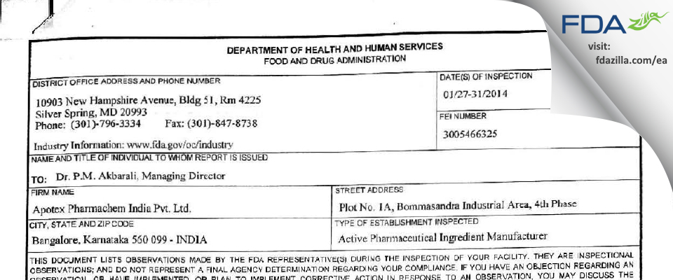 Apotex Pharmachem India FDA inspection 483 Jan 2014