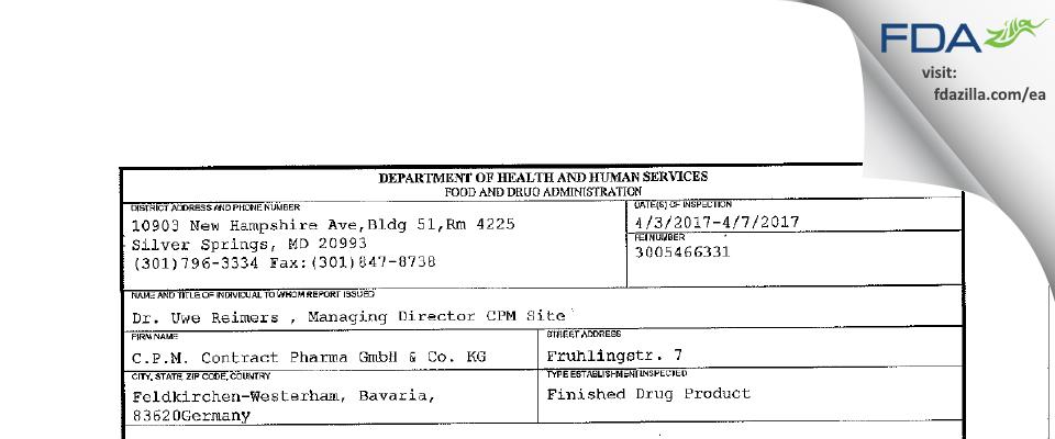 C.P.M. Contract Pharma & KG FDA inspection 483 Apr 2017