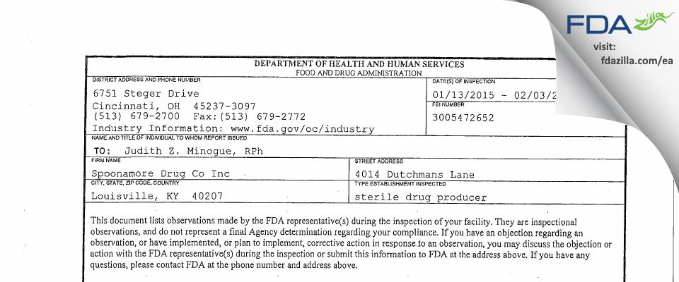 Spoonamore Drug Co FDA inspection 483 Feb 2015