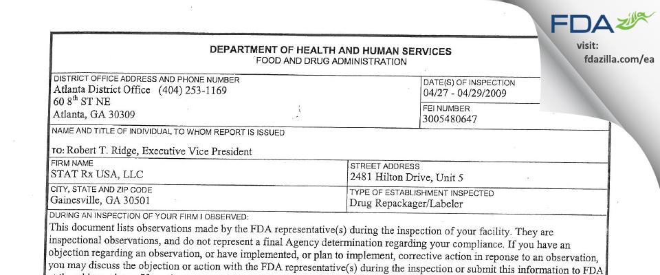 Stat Rx USA FDA inspection 483 Apr 2009