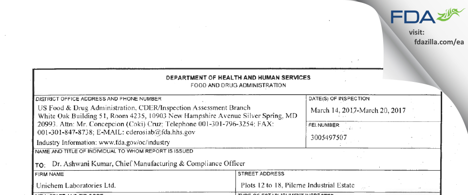 Unichem Labs FDA inspection 483 Mar 2017