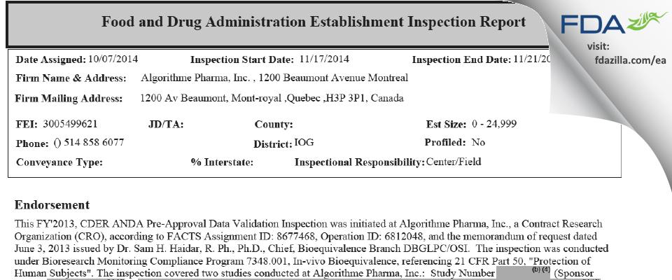 Altasciences Company FDA inspection 483 Nov 2014
