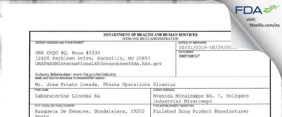 Laboratorios Liconsa Sa FDA inspection 483 Oct 2019