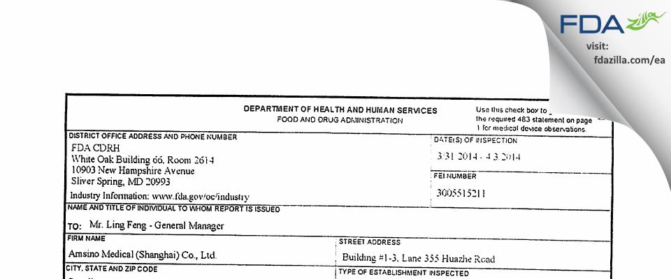Amsino Medical (Shanghai) FDA inspection 483 Apr 2014