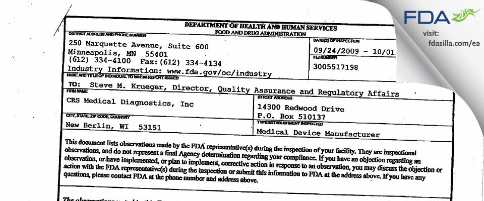CRS Medical Diagnostics FDA inspection 483 Oct 2009