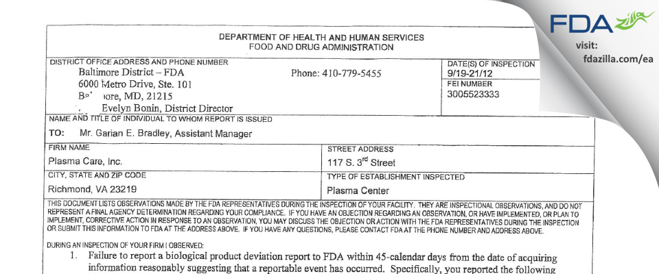 Grifols Biomat USA FDA inspection 483 Sep 2012