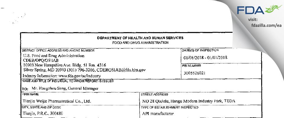Tianjin Weijie Pharmaceutical FDA inspection 483 Jan 2018