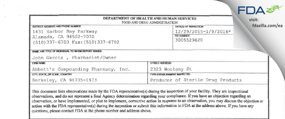Abbott's Compounding Pharmacy FDA inspection 483 Jan 2016