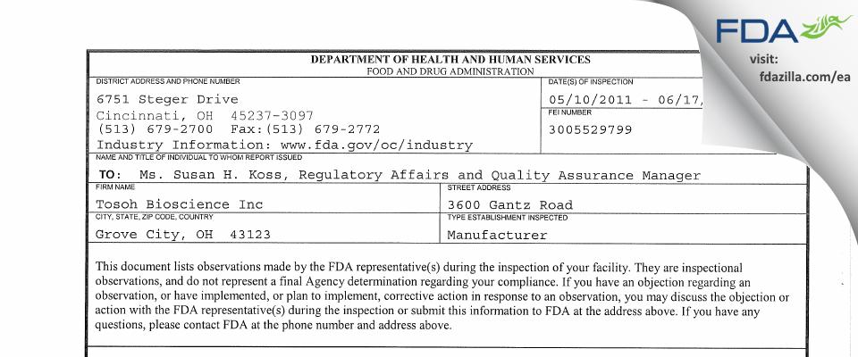 Tosoh Bioscience FDA inspection 483 Jun 2011