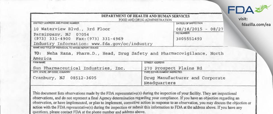 Sun Pharmaceutical Industries FDA inspection 483 Aug 2015