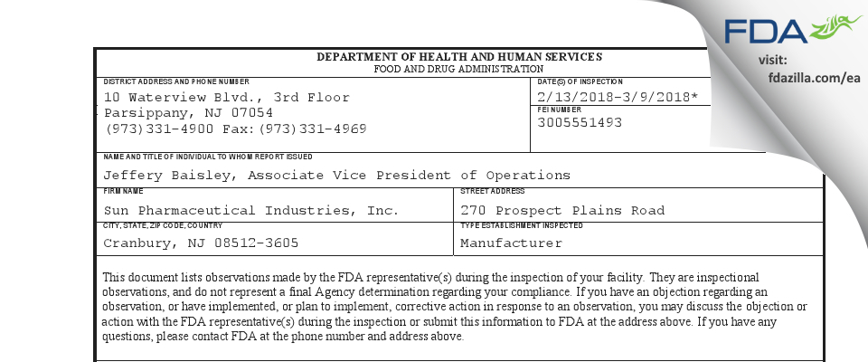 Sun Pharmaceutical Industries FDA inspection 483 Mar 2018