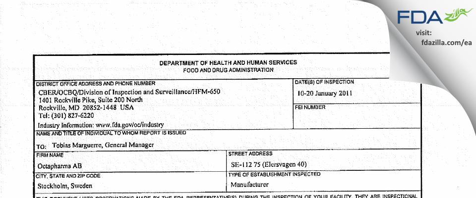 Octapharma AB FDA inspection 483 Jan 2011