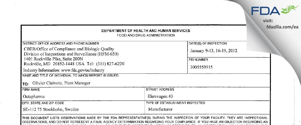 Octapharma AB FDA inspection 483 Jan 2012