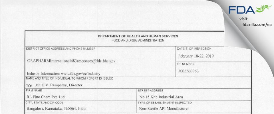 R.L. Fine Chem Private FDA inspection 483 Feb 2019