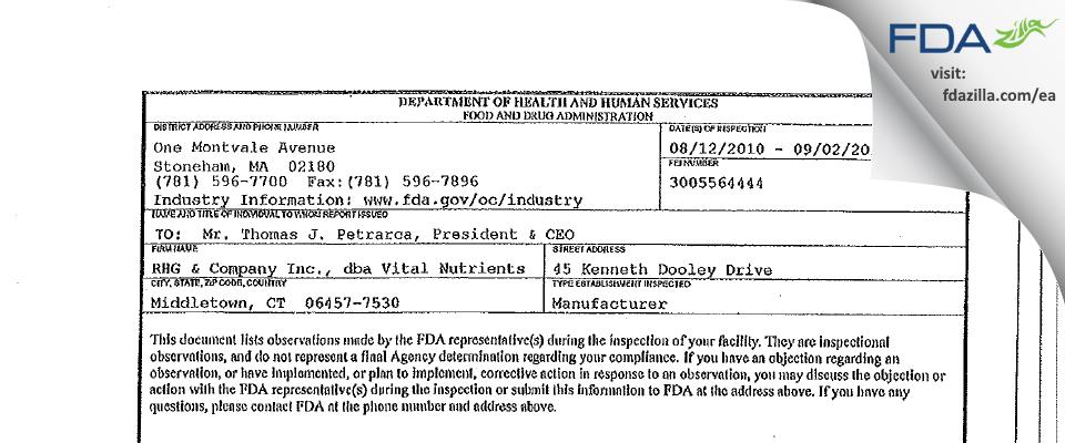RHG & Company FDA inspection 483 Sep 2010