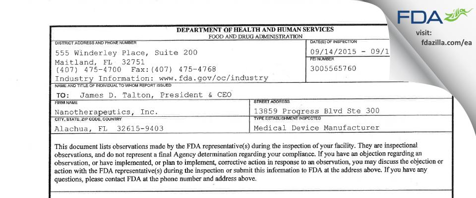 Nanotherapeutics FDA inspection 483 Sep 2015