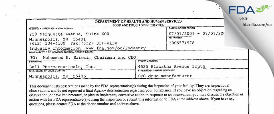 Bell International Labs FDA inspection 483 Jul 2009