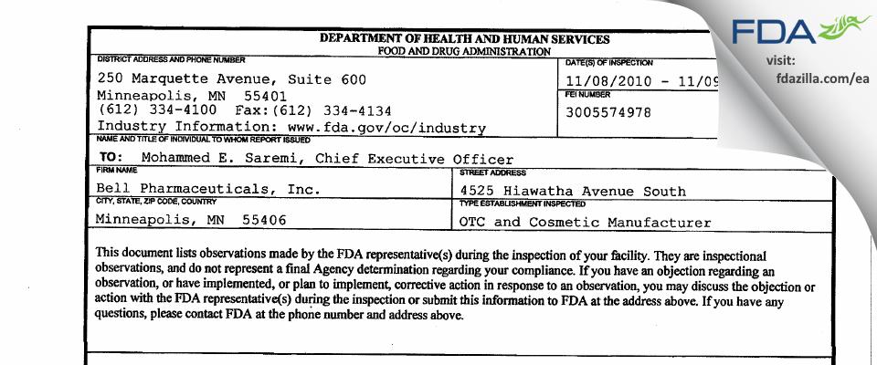 Bell International Labs FDA inspection 483 Nov 2010