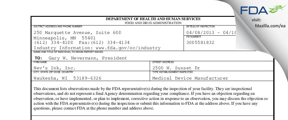 Nev's Ink FDA inspection 483 Apr 2013