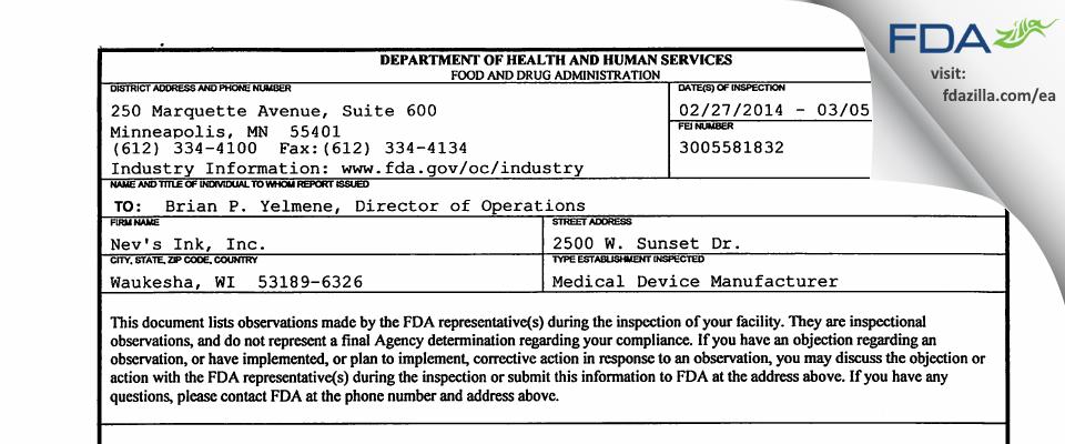 Nev's Ink FDA inspection 483 Mar 2014