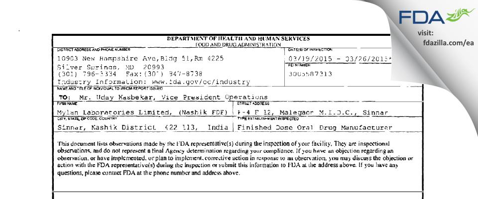 Mylan Labs FDA inspection 483 Mar 2015