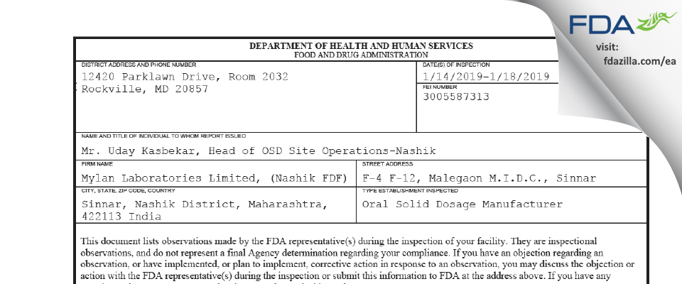 Mylan Labs FDA inspection 483 Jan 2019