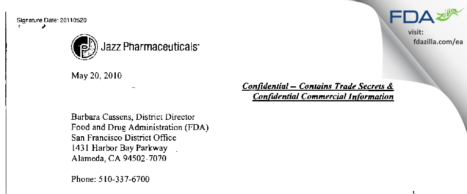 Jazz Pharmaceuticals FDA inspection 483 May 2011
