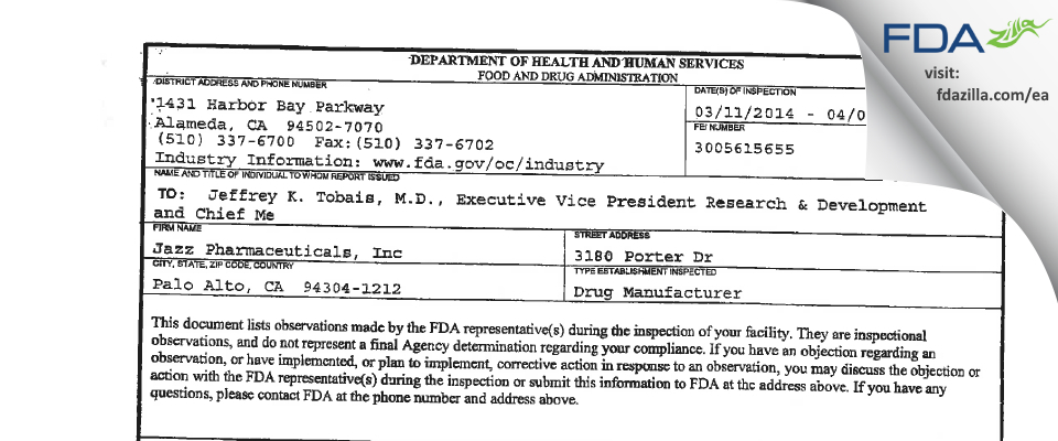 Jazz Pharmaceuticals FDA inspection 483 Apr 2014