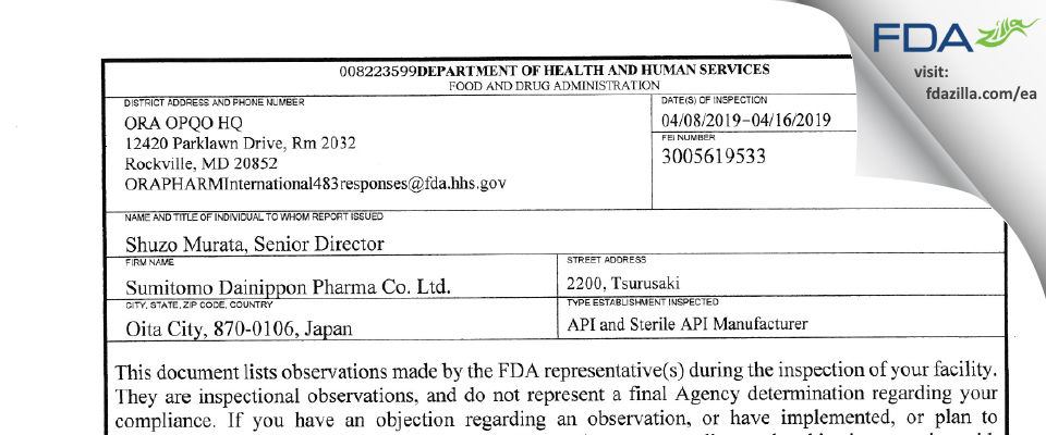 Sumitomo Dainippon Pharma FDA inspection 483 Apr 2019