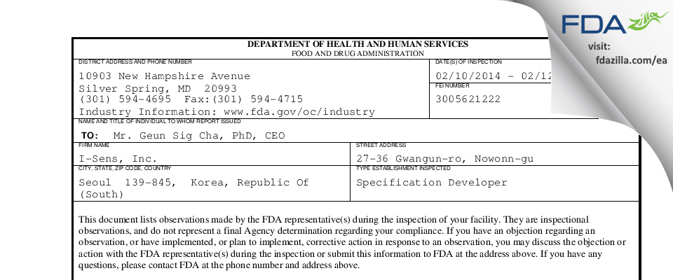 I-Sens FDA inspection 483 Feb 2014