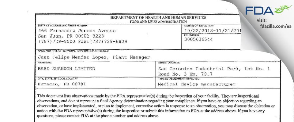 Bard Shannon FDA inspection 483 Nov 2018