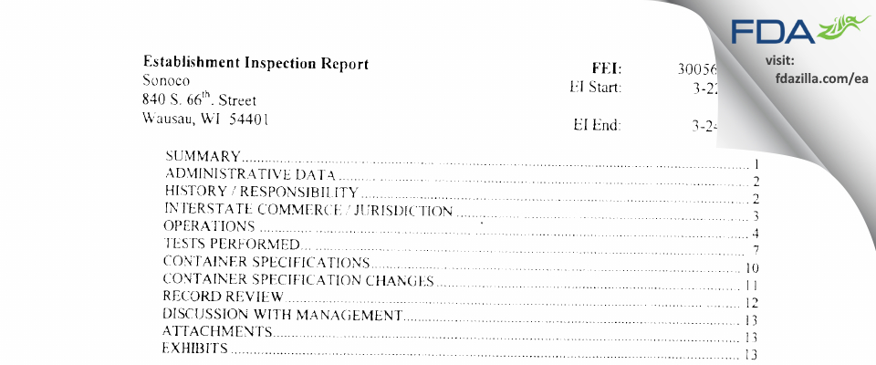 Sonoco FDA inspection 483 Jun 2006