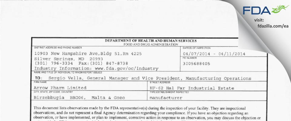 Arrow Pharm FDA inspection 483 Apr 2014