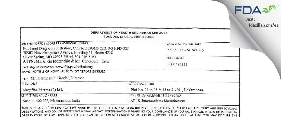 Megafine Pharma (P) FDA inspection 483 May 2015