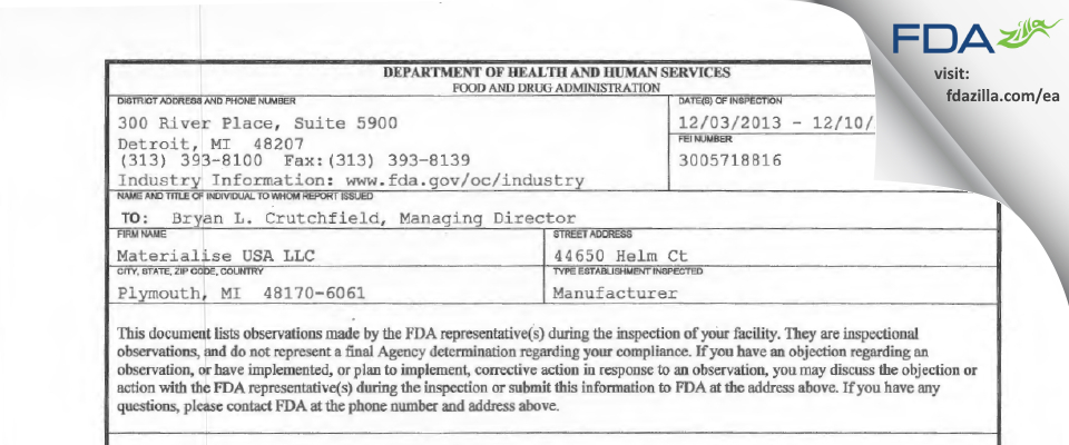 Materialise USA FDA inspection 483 Dec 2013