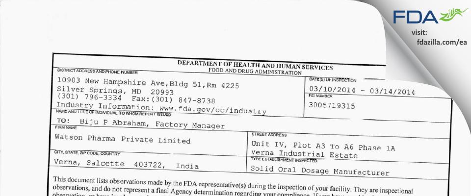 Watson Pharma Private FDA inspection 483 Mar 2014