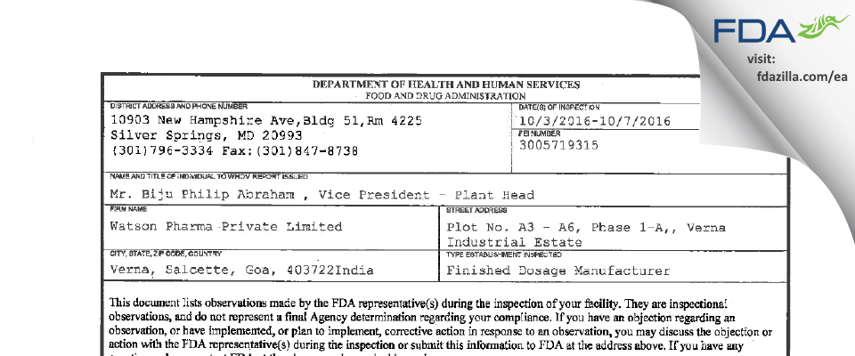 Watson Pharma Private FDA inspection 483 Oct 2016
