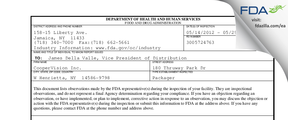 CooperVision FDA inspection 483 May 2012