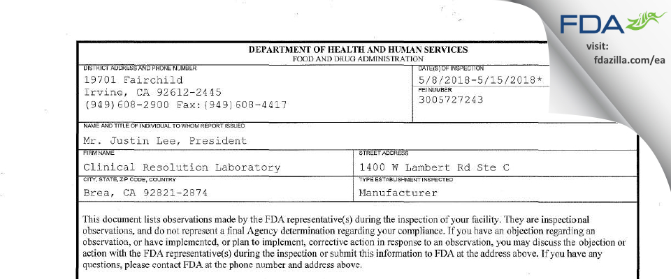Clinical Resolution Laboratory FDA inspection 483 May 2018