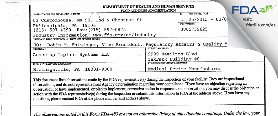 Aesculap Implant Systems FDA inspection 483 Mar 2015