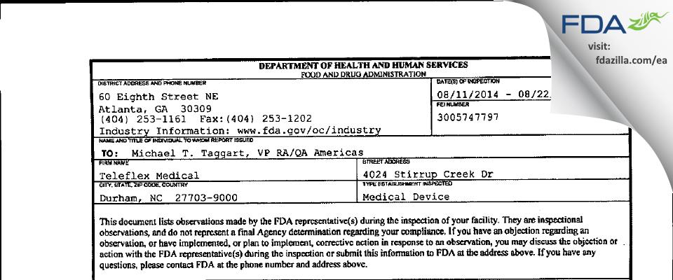 Teleflex Medical FDA inspection 483 Aug 2014