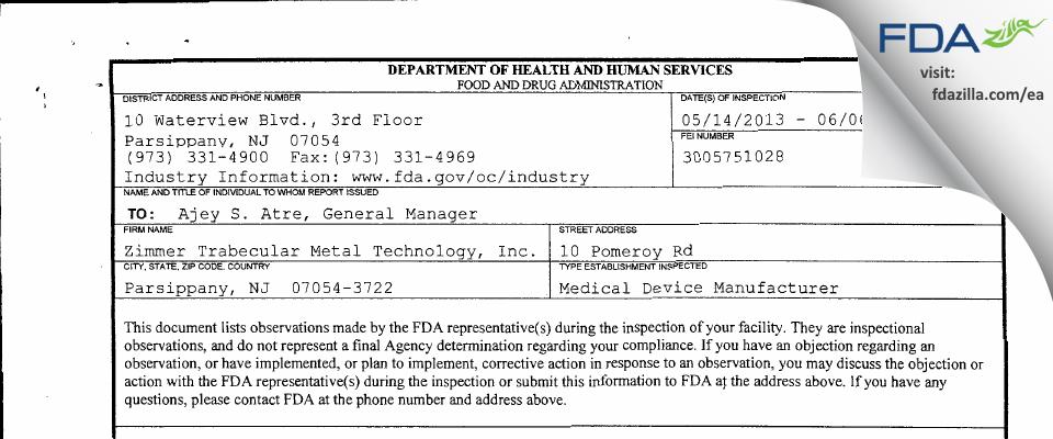 Zimmer Trabecular Metal Technology FDA inspection 483 Jun 2013